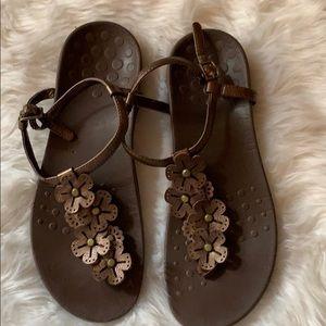 Copper leather Vionic comfort sandals